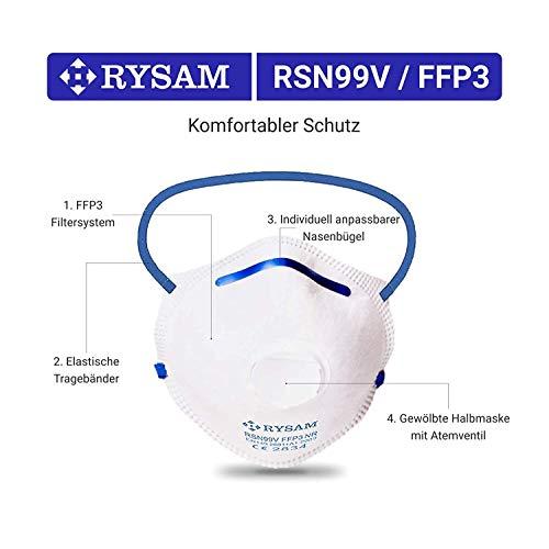RYSAM Zertifizierte FFP3 Atemschutzmaske Staubmaske Atemmaske Staubschutzmaske Mundschutzmaske – 10 Stück - 3