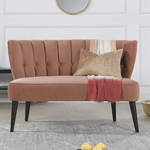 Jennifer Taylor Home Becca Channel and Button Tufted Settee, Orange