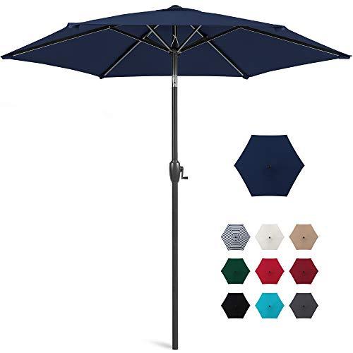 Best Choice Products 7.5ft Heavy-Duty Round Outdoor Market Patio Umbrella w/Steel Pole, Push Button Tilt, Easy Crank Lift - Navy Blue