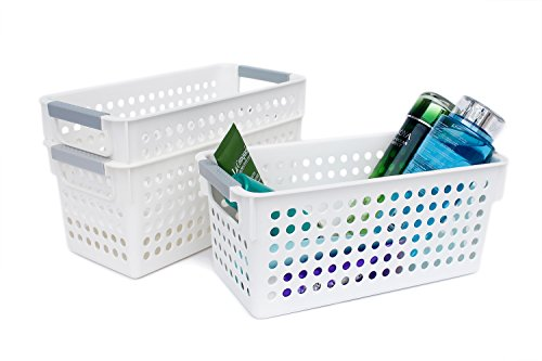 Honla Slim Plastic Storage Baskets Bins Organizer with Gray HandlesSet of 3White