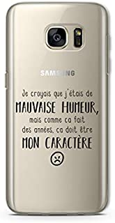 ZOKKO Case for Galaxy S7 Edge - Transparent Soft Transparent with Black Ink [French Language]
