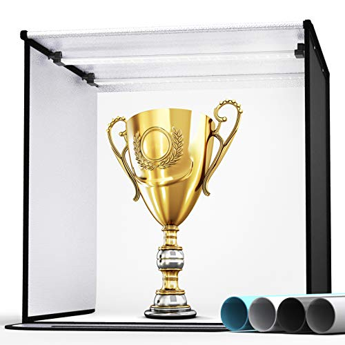 SAMTIAN Fotostudio Tragbar Foto Zelte 60 x 60 x 60 cm Foto Box Beleuchtung Studio Set Kit mit 4 Hintergrund Papier (schwarz, weiß, grau, blau), 126 LEDs