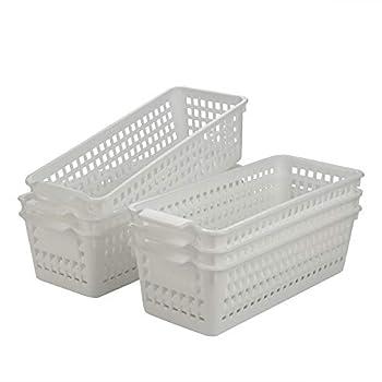 Fiaze 6-Pack Small Plastic Storage Baskets / Trays Organizer White