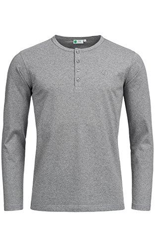 Banqert Herren Longsleeve Chamarel Falls, klassisches Langarmshirt mit Knopfleiste für Männer aus 100% Baumwolle für Büro und Sport, in Dunkel-Grau L