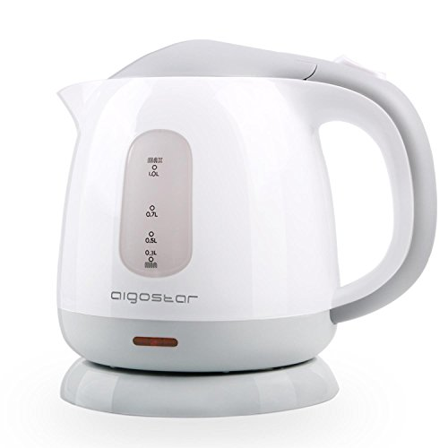 Aigostar Juliet - Mini Electric Tea Kettle, 1.0 L BPA-Free Portable Electric Water Kettle, 1100W, Grey and White