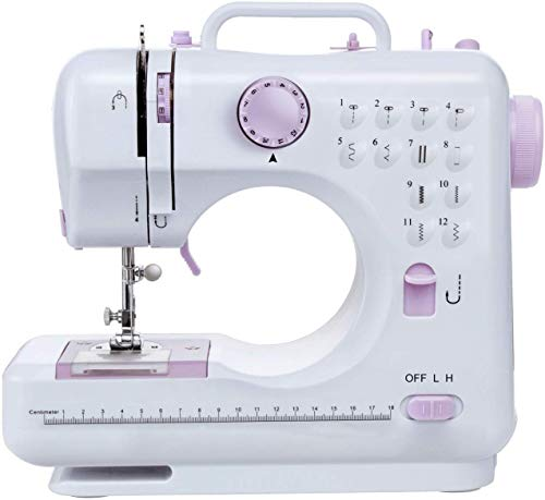 Sewing Machine-12 Stitch Patterns Foot Pedal Double Speed Control Sewing Machine with Replaceable Presser ,Electric Overlock Sewing Machine Small Household Sewing Tool 2 Speed