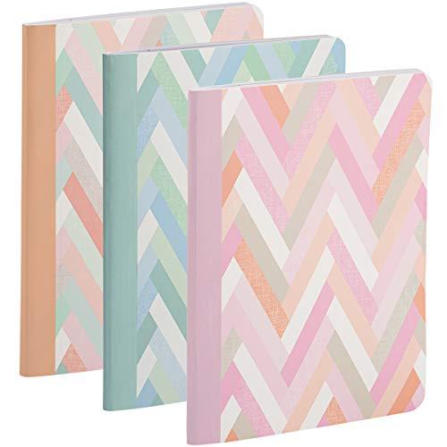 Libro de composición de 9 3/4 x 7 1/2, impresión única, rosa espiga de espiga multicolor, espiga azul, ideal para tareas escolares, diarios y tareas de oficina en casa,...