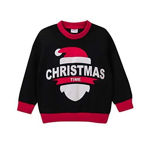 Kleinkind Weihnachten gedruckt T-Shirt Langarm Rundem Hals T-Shirts Jungen Mädchen...