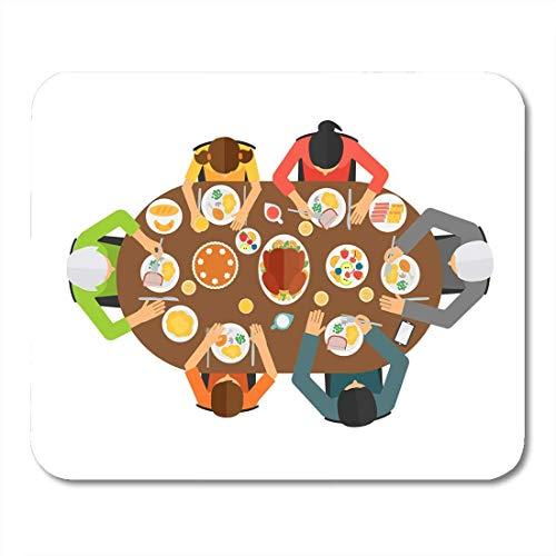 Mauspads thanksgiving-familie, Die am esstisch sitzt draufsicht großes mauspad für notizbücher, Desktop-computer-matten büromaterial