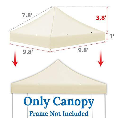 Ez pop Up Instant Canopy 10'X10' Replacement Top Gazebo EZ Canopy Cover Patio Pavilion Sunshade plyester-Ecru