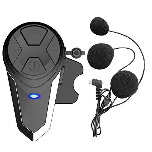 QSPORTPEAK Auriculares Bluetooth para Motocicleta Intercomunicador Casco Moto, BT-S3 1000m Bluetooth Auriculares Manos Libres para Casco Moto