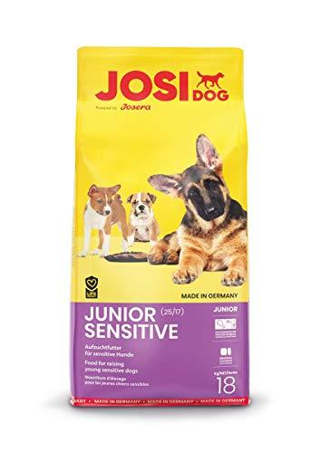 JosiDog Junior Sensitive, Welpenfutter für empfindliche Hunde, Premium Trockenfutter für wachsende Hunde, powered by JOSERA, 1er Pack (1 x 18 kg)