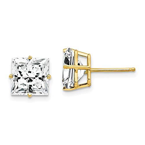 14ct Yellow Gold 8mm Princess Cut Cubic Zirconia Earrings