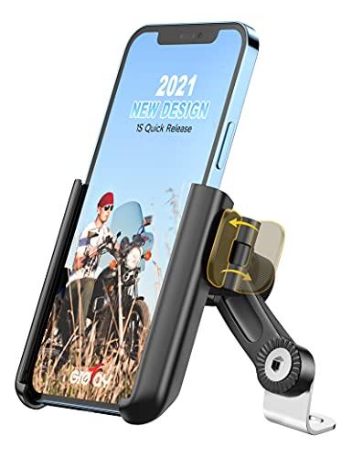 Grefay Soporte Móvil Moto, Desmontaje Rápido 1S para Soporte Telefono Motocicleta Retrovisor,Porta Movil Moto con Giro de 360 Grados, para Smartphone de 3,5 a 7,0 Pulgadas