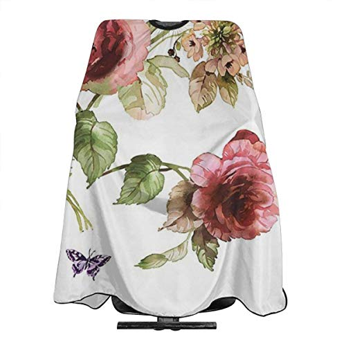 Pag Crane Coupe de Cheveux Barber Cape Cover Tablier de Coupe de Cheveux, Cape Haircut Cloth Wrap Protector (Flower Shabby Chic Roses Buds Leaves Tulips Floral Butterfly)