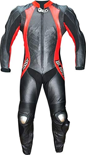 BIESSE - Tuta intera da moto, vera pelle bovina, traforata, ideale per uso professionale in pista. Modello Frecciarossa (Nero/Rosso, 3XL)