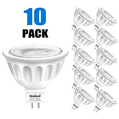 MR16 LED Bulbs Non Dimmable 10PACK, 6000K Cool White, Daylight, AC/DC12V, 5W,50W Halogen Bulb Equivalent,90% Energy Saving,40 Degree,GU5.3 Base, by Boxlood