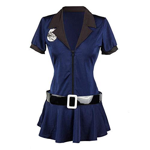 KHDFYER Lingerie Sexy Costume da Poliziotto Femminile Sexy da Donna Cosplay Costume da Poliziotto Uinform Halloween Party Policeman Fancy Dress-Blue_S