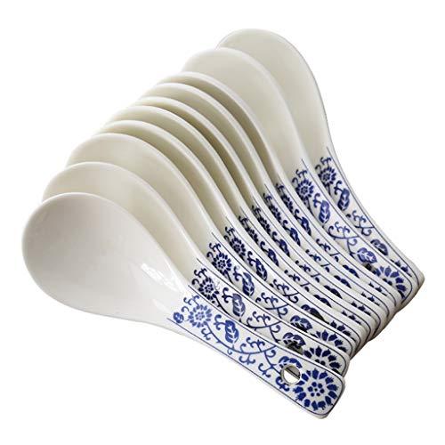 Cuchara multiusos Cucharas de sopa de cerámica con la manija modelado azul porcelana sopa de cucharas, cucharas de mesa, la cena de cucharas, 6.7 pulgadas de largo, Conjunto de 10 para el hogar, la co