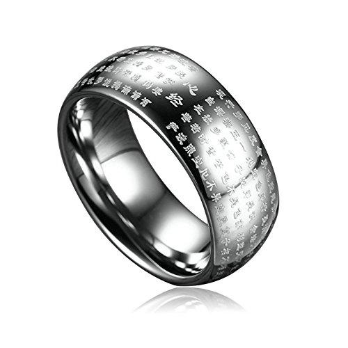 Bishilin Edelstahl Ringe für Herren mit Gravur Buddhistische Schriften Breite 8MM Freundschaftsring Männer Ring Silber Größe 67 (21.3)