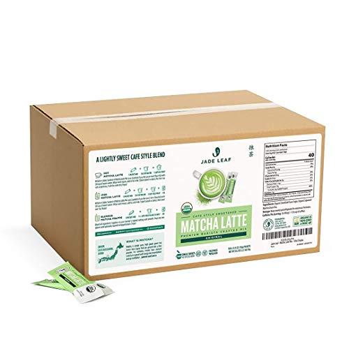 Jade Leaf Organic Matcha Latte Mix - Cafe Style Sweetened Blend - Sweet Matcha Green Tea Powder - 100ct Single Serve Stick Packs