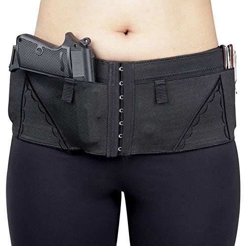 CIJK Banda para El Vientre con Funda para Pistola, Banda para La Cintura para Glock14 19 26 42 Sig Sauer Ruger,Negro,L