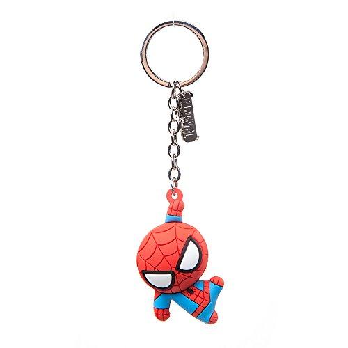 Bioworld BIO-KE020304SPN Marvel Comics Porte-clés en caoutchouc avec personnage Spider-Man Taille unique Rouge 16 cm , Multicouleur