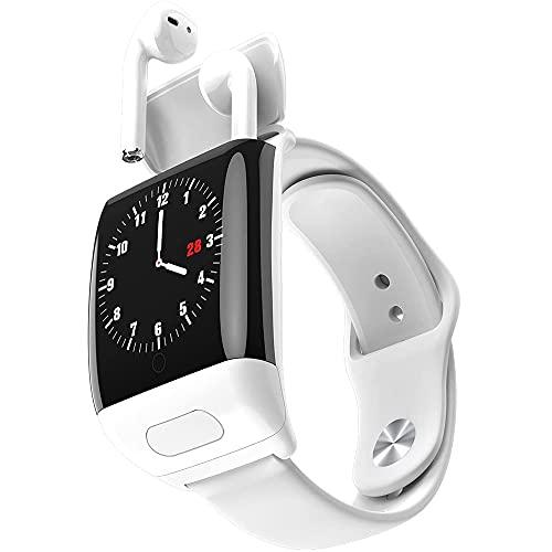 YHYABC Pulsera Smart Watch Inalámbrica Auricular Combo 2 en 1 - Fitness Tracker Bluetooth - Cardíaca Reloj con Auriculares con Auriculares - para iPhone Android Internacional Samsung (Color : White)