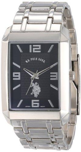 U.S. Polo Assn. Klassische Herren-Armbanduhr USC80003, rechteckig, schwarzes Zifferblatt