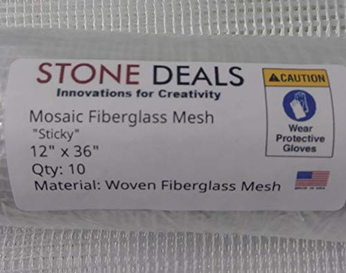"Stone Deals Super Sticky Mosaic Mesh 12"" x 36"" (Ten Sheets) 4.5 oz"