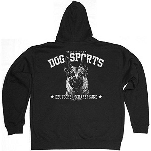 Goodman Shirts Kapuzen Zip Sweatshirt mit Hunde Motiv Bedruckt/Dog Sports - Deutscher Schäferhund !