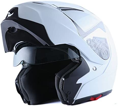 1Storm Motorcycle Street Bike Modular/Flip up Dual Visor/Sun Shield Full Face Helmet (GlossyWhite, Small)