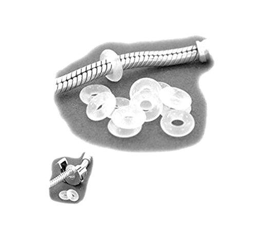 Silikon-Stopper 6mm, Schmuckzubehör für Kettchen und Pandora-Bänder usw, 25 Stück, Farbe Transparent, Sili 025 von ESM24