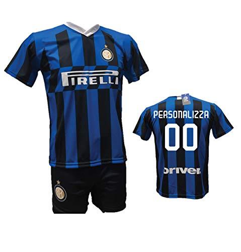 Completo Calcio Maglia Inter Personalizzabile + Pantaloncino Replica Autorizzata 2019-2020 Bambino (Taglie 2 4 6 8 10 12) Adulto (S M L XL) (M)