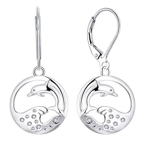 JO WISDOM Pendientes Mujer Plata de Ley 925,Pendientes Delfines Animal con AAA Circonita,Joyas para Mujeres Niña Mamá