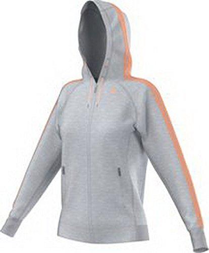 adidas Damen Kapuzenjacke Essentials 3S Hoody, Light Grey Heather/Flash Orange, XXS