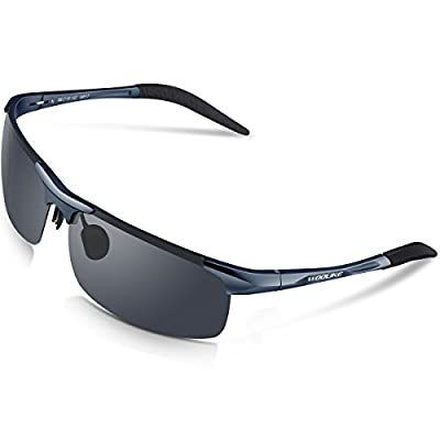 WOOLIKE Sports Polarized Sunglasses for Cycling Running Fishing Golf WL-817(Grey&Black&Grey Lens)