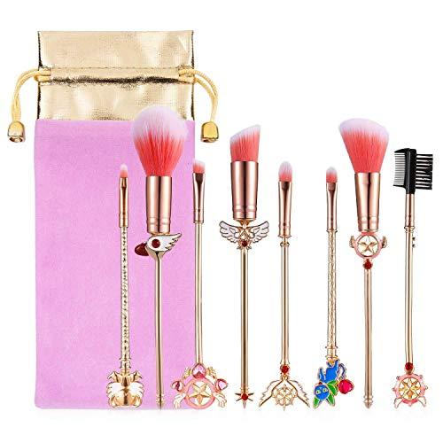 Juego de 8 brochas de maquillaje Sailor Moon con bolsa, corrector de colorete en polvo de metal dorado para base, brochas mágicas, herramienta de belleza para mujeres y niñas, regalo de cumpleaños