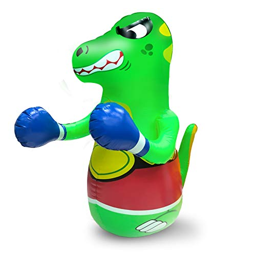 47 Inch Inflatable Dinosaur Punching Bag for Kids, Free Standing Bounce-Back Bopper Air Bop Bag Boxing Toys for Boys Girls Gift Exercise Stress Relief Toys Summer Indoor Outdoor Sports Pool Party Toy