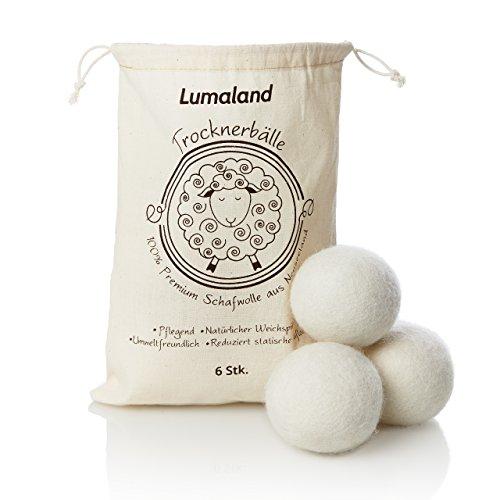 Lumaland Trocknerbälle aus 100% Premiumwolle von Neuseelandschafen natürlicher Weichspüler aus Wolle 6 Stück