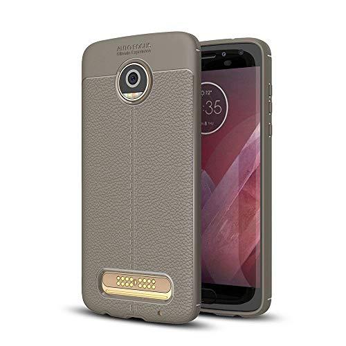 Capa para Motorola Moto Z2 Play com estampa de Litchi, capa traseira ultrafina TPU cinza