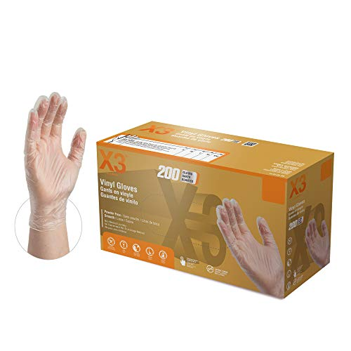 X3 Industrial Clear Vinyl Gloves, Box of 200, 3 Mil, Size Medium, Latex Free, Powder Free, Disposable, Food Safe, GPX3D44100-BX