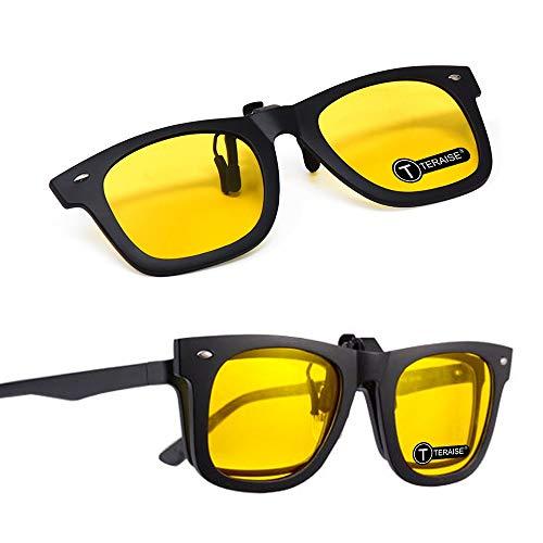 TERAISE 2PCS Clip en la lente polarizada para gafas graduadas Clip de visión nocturna Gafas de sol para unisexo Con estuche para gafas Gafas antideslumbrantes para ciclismo Pesca Deporte al aire libre