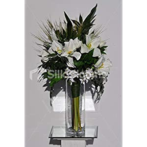 Silk Blooms Ltd Artificial White Fresh Touch Amaryllis and Dendrobium Orchid Vase Arrangement w/Foliage and Grass