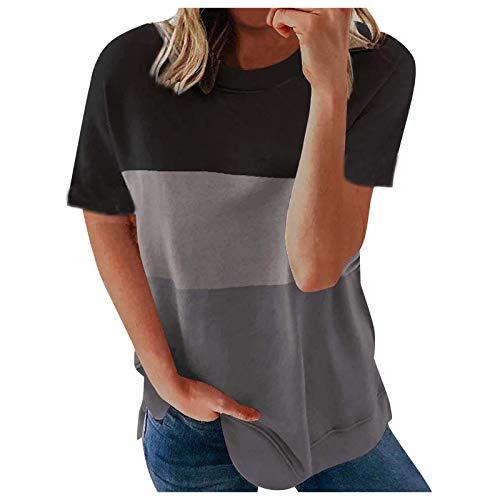 URIBAKY - Camiseta de manga corta para mujer, cuello redondo, con costuras gris XXL