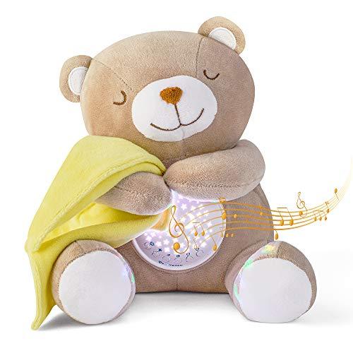 APUNOL Einschlafhilfe Babys Musik und Licht, Babys Nachtlicht Projektor Wiederaufladbar kinder Babyparty Geschenk Mädchen und Junge Spielzeug Teddy mit Weißes Rauschen, Weinen Erkennungs Sensor