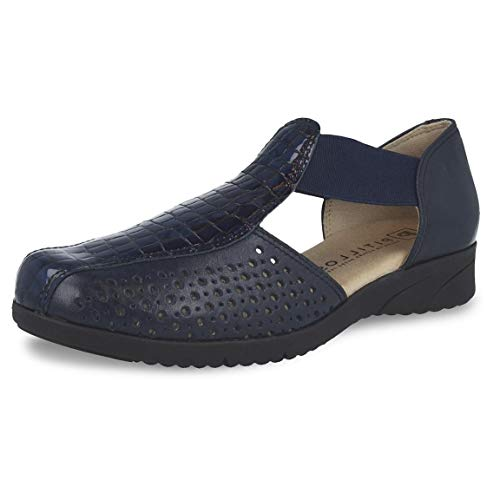 Zapato Mujer Tipo cangrejera Marca PITILLOS, en Piel picada napa con Coco, Suela Antideslizante, Altura 3cm - 2911-926 (39 EU, Azul)