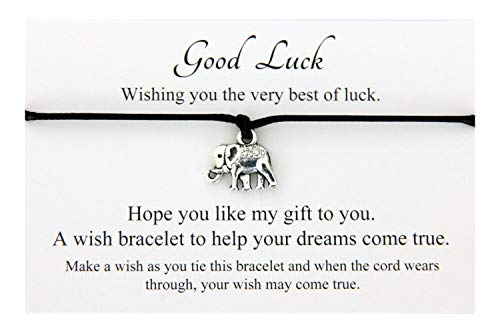 Good Luck Handmade Elephant Charm Wish Bracelet Friendship,Organza Gift bag,Choice of Colour (Black)