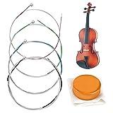 HONGECB Vollständiger Saiten-Satz für Violine, für Größen 1/2, 1/4 und 1/8 Stahlsaiten, Rostfreies und langlebiges Zubehör für Musikinstrumente, 1 Stück Bogen Kolophonium für...