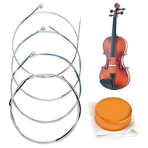HONGECB Vollständiger Saiten-Satz für Violine, für Größen 1/2, 1/4 und 1/8 Stahlsaiten, Rostfreies und langlebiges Zubehör für Musikinstrumente, 1 Stück Bogen Kolophonium für Violine